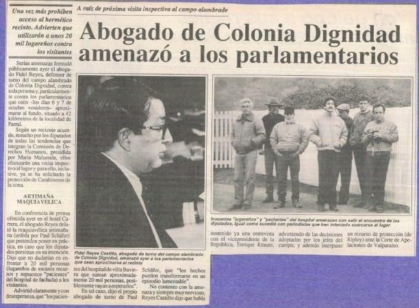 1991 octubre 01 –Fortín Mapocho – Abogado de Colonia Dignidad amenazó a parlamentarios