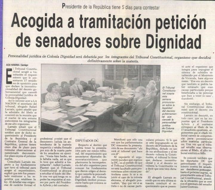 1991 abril 05 –La Nación – Presidente de la república tiene cinco días para contestar acogida a tramitación petición de senadores sobre Dignidad