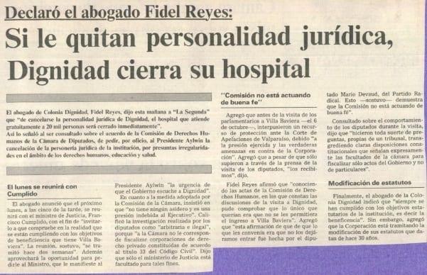1990 diciembre 13 –La Segunda – Declaró el abogado Fidel Reyes Si le quitan personalidad jurídica, Dignidad cierra su hospital