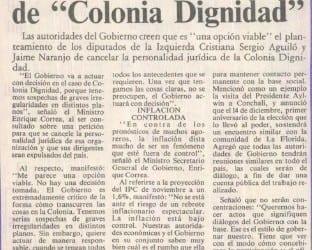 """Confirmó Ministro Enrique Correa, cancelarían existencia de """"Colonia Dignidad"""""""