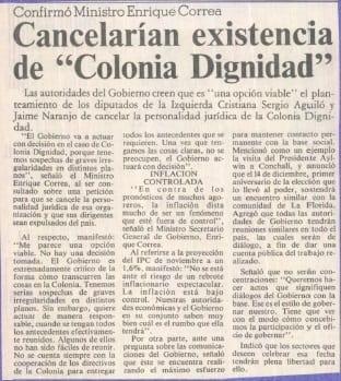 """1990 noviembre 23 – La Tercera – Confirmó Ministro Enrique Correa, cancelarían existencia de """"Colonia Dignidad"""""""