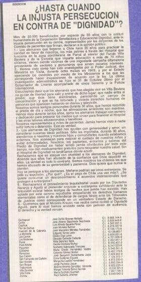"""1990 noviembre 25 – El Mercurio – ¿Hasta cuando la injusta persecución  en contra """"Dignidad"""""""