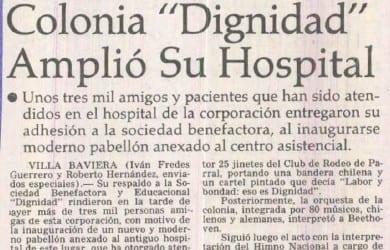 """En concurrido acto público de apoyo: Colonia """"Dignidad"""" amplió su hospital"""