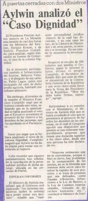 """1991 enero 03 – La Tercera – A puertas cerradas con dos Ministros Aylwin analizó el """" """"Caso Dignidad"""""""