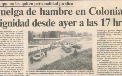 Para que no les quiten personalidad jurídica huelga de hambre en Colonia Dignidad desde ayer a las 17hrs