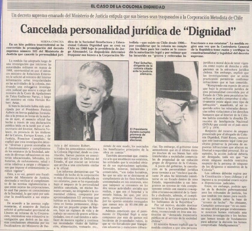 """1991 febrero 02 – La Época – Cancelada personalidad jurídica de """"Dignidad"""""""