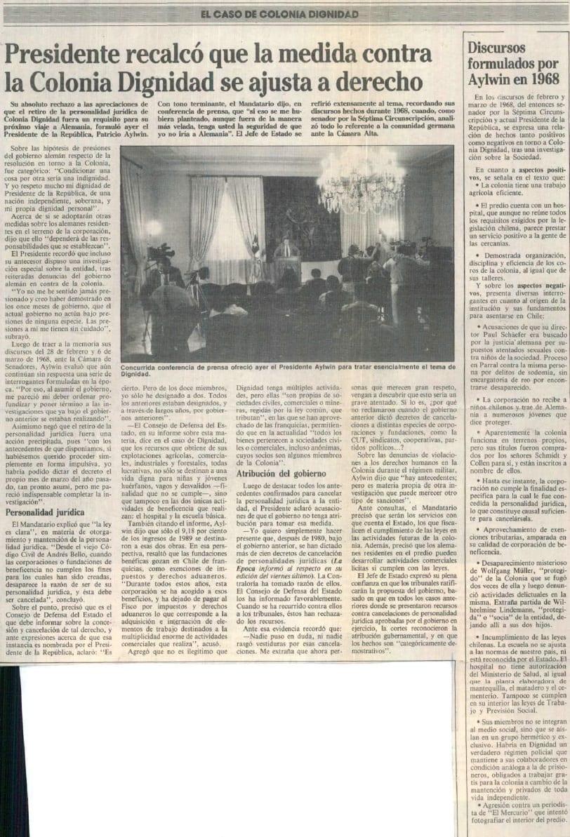 1991 febrero 10 – La Época – Presidente recalcó que la medida contra la Colonia Dignidad se ajusta a derecho