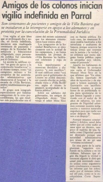 1991 febrero 19 – Las Ultimas Noticias – Amigos de los colonos inician vigilia indefinida en Parral