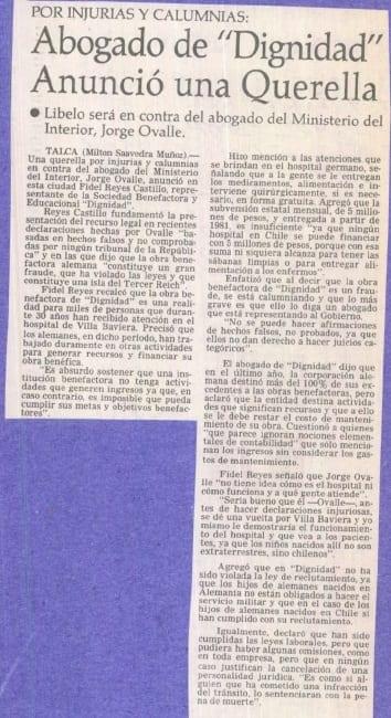 """1991 junio 07 – El Mercurio – Por injurias y calumnias abogado de dignidad anunció una """"querella"""""""