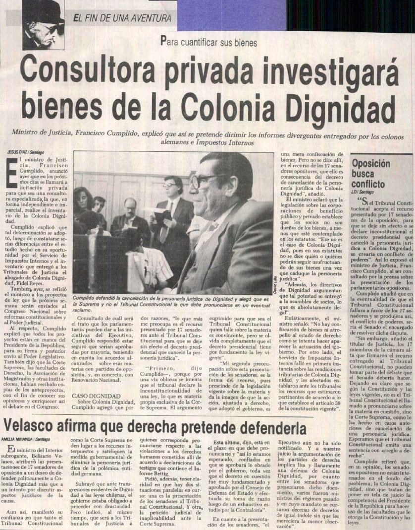 1991 marzo 23 – La Nación – Para cuantificar sus bienes consultora privada investigará bienes de la Colonia Dignidad