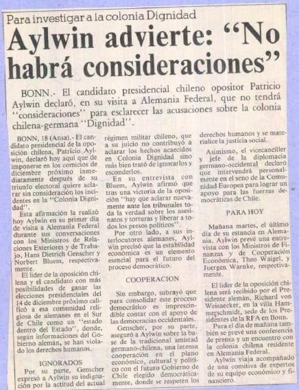 """1991 septiembre 10 – La Tercera – Para investigar a la Colonia Dignidad Aylwin advierte """"No habrá consideraciones"""""""
