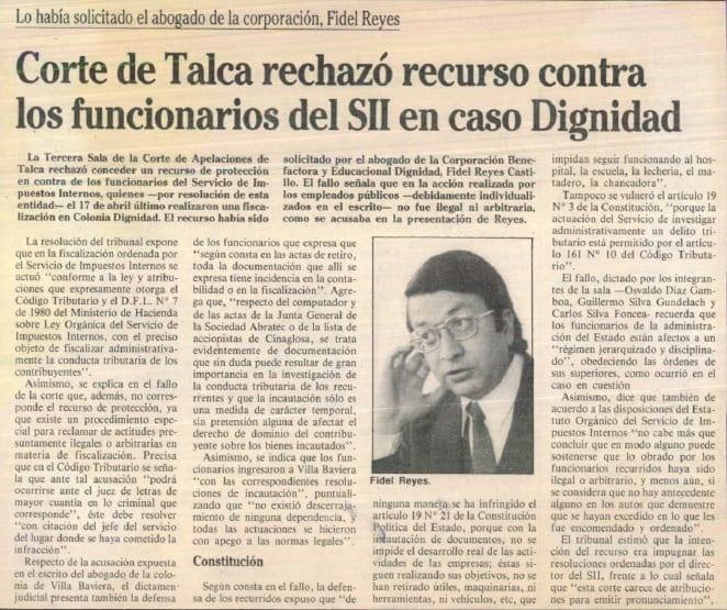 1991 julio 11 - La Época - Corte de Talca rechazó recurso contra los funcionarios del SII en caso Dignidad