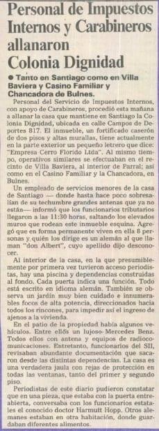 1991 abril 17 - La Segunda - Personal de Impuestos Internos y Carabineros allanaron Colonia Dignidad