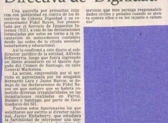 """SII se querelló contra Directiva de """"Dignidad"""""""