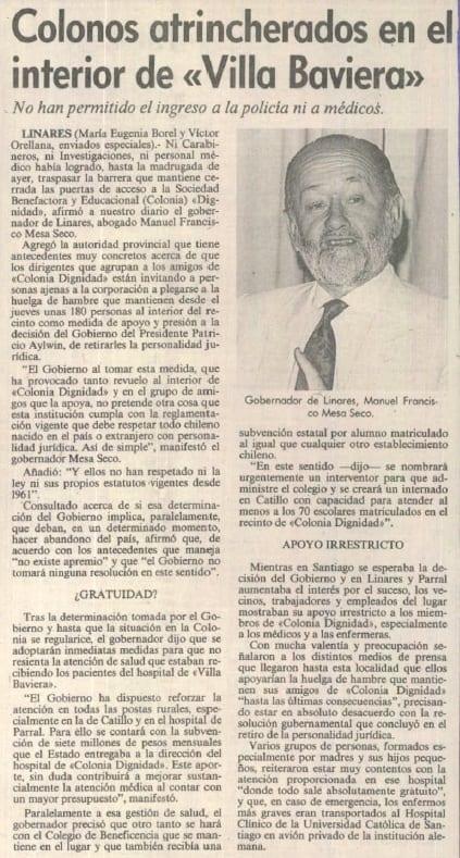 """1991 febrero 02 - Las Últimas Noticias - Colonos atrincherados en el interior de """"Villa Baviera"""""""