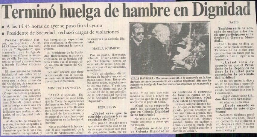 1991 febrero 06 - La Tercera - Terminó huelga de hambre en Dignidad