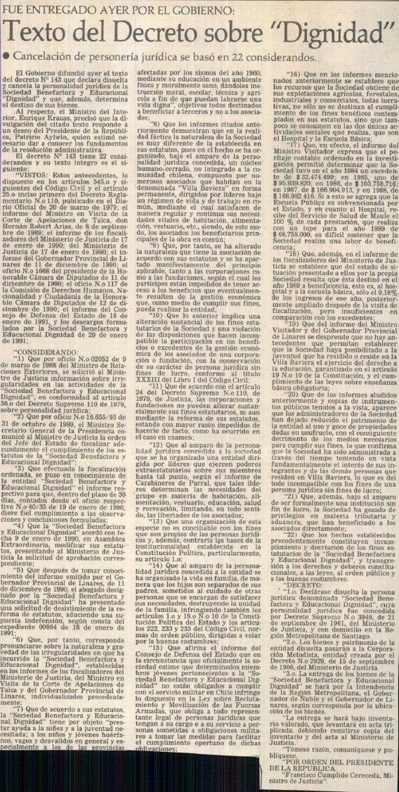 """1991 febrero 05 - El Mercurio - Texto del decreto sobre """"Dignidad"""""""