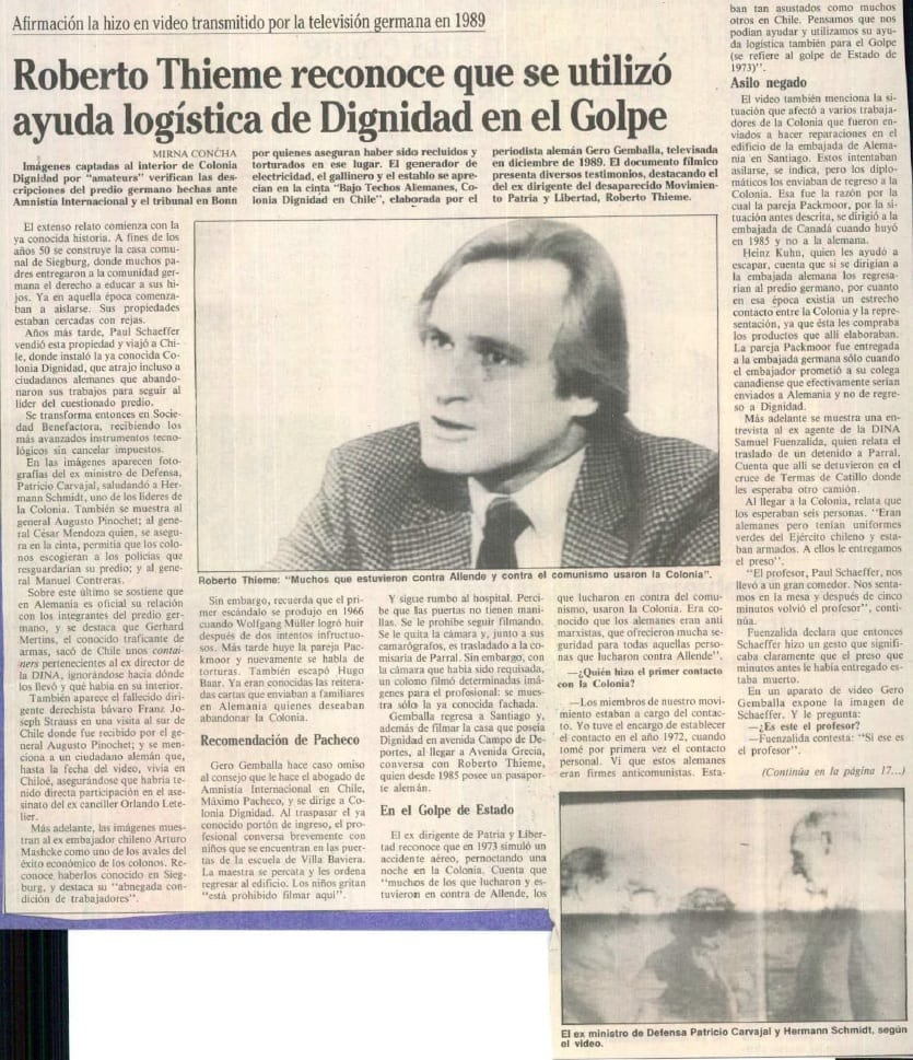 1991 febrero 24 - La Época - Roberto Thieme reconoce que se utilizó ayuda logística de Dignidad en el Golpe