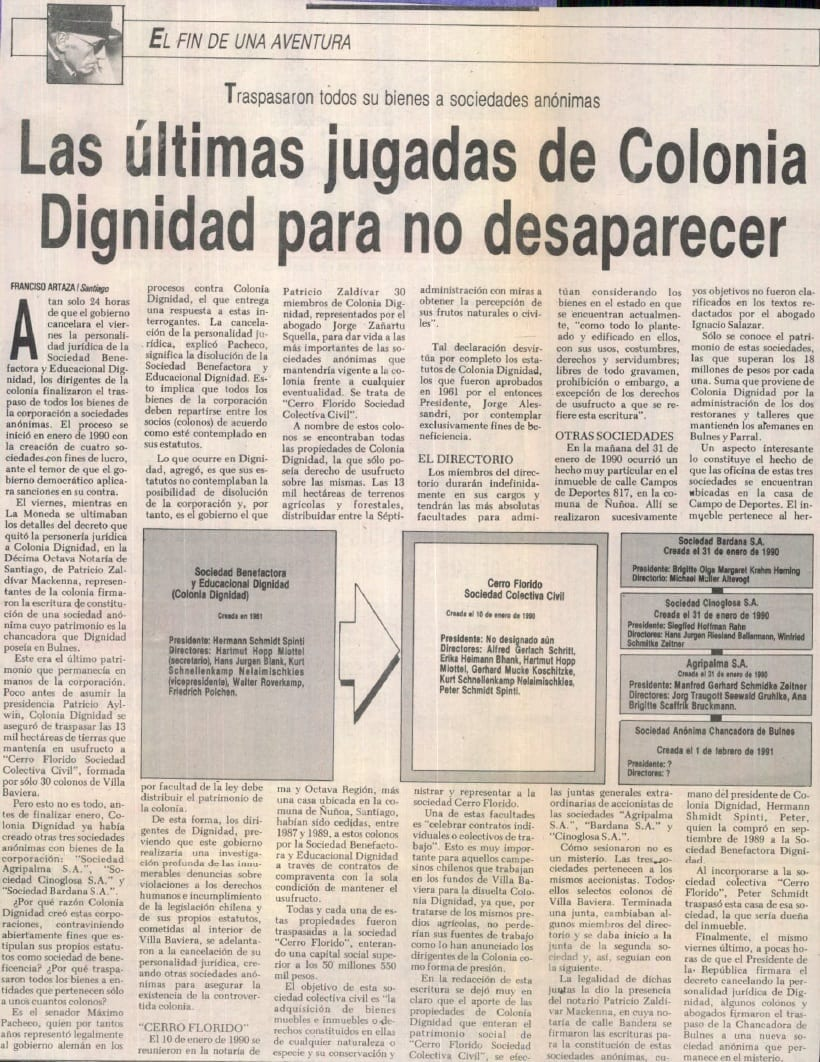 1991 febrero 03 - La Nación - Las últimas jugadas de Colonia Dignidad para no desaparecer