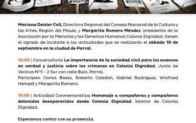 Actividades conmemorativas en Homenaje a compañeras y compañeros detenidos desaparecidos desde Colonia Dignidad