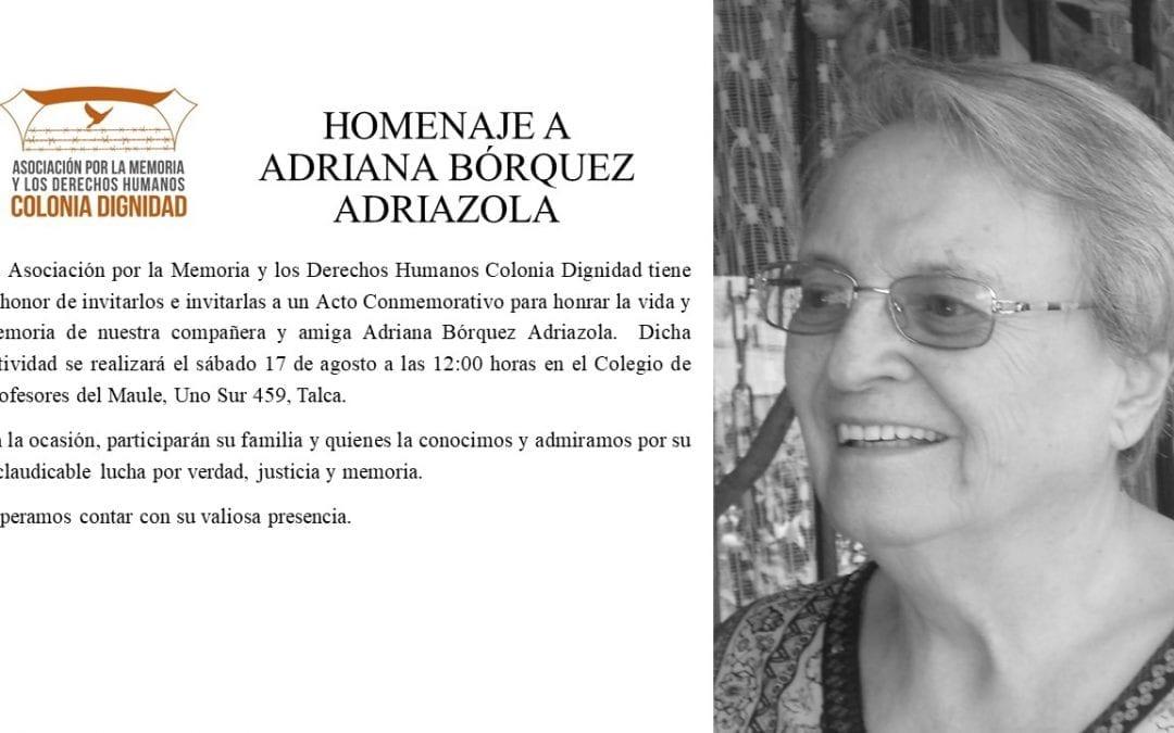 Homenaje a Adriana Bórquez Adriazola