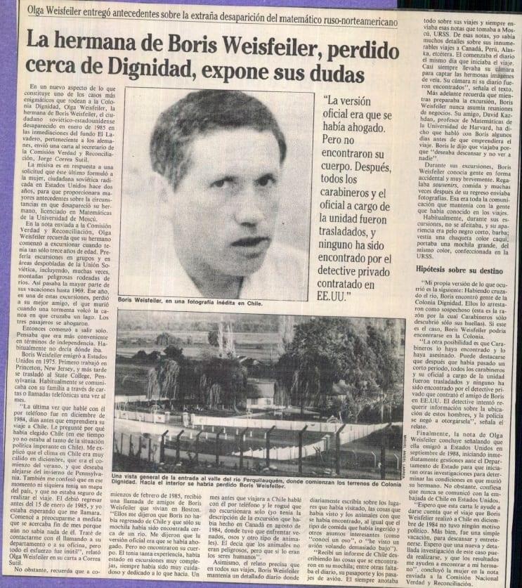 1991 abril 29 - La Época - La hermana de Boris Weisfeiler, perdido cerca de Dignidad, expone sus dudas