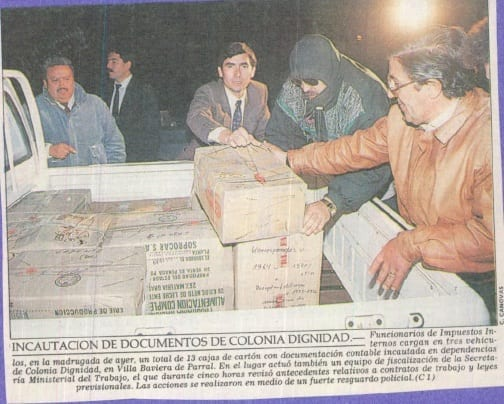 1991 abril 19 – El Mercurio – Incautación de documentos de Colonia Dignidad