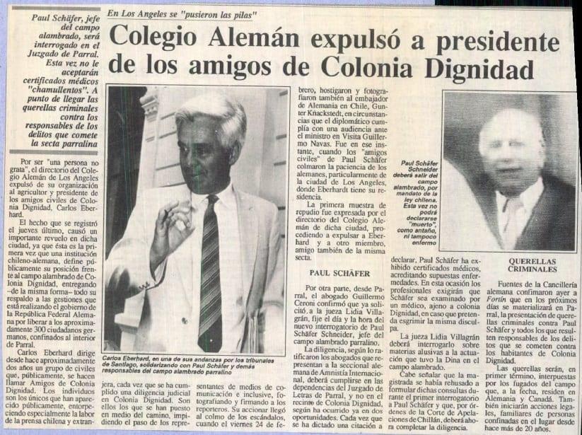 """1991 marzo 05 – Fortín Mapocho – En los Ángeles se """"pusieron las pilas"""", Colegio Alemán expulsó a presidente de los amigos de Colonia Dignidad"""