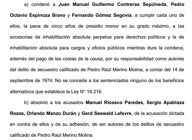Sentencia Pedro Merino