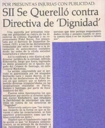 """1991 abril 24 - El Mercurio - SII se querelló contra Directiva de """"Dignidad"""""""